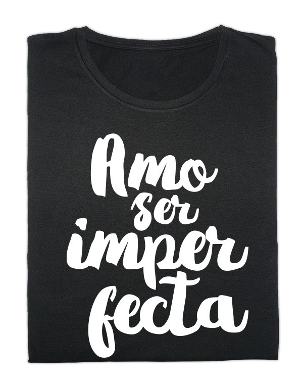 Camiseta negra Amo ser imperfecta